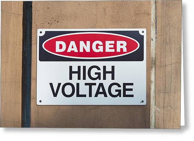 Energy Conversion Greeting Cards - High Voltage Sign Greeting Card by Hans Engbers