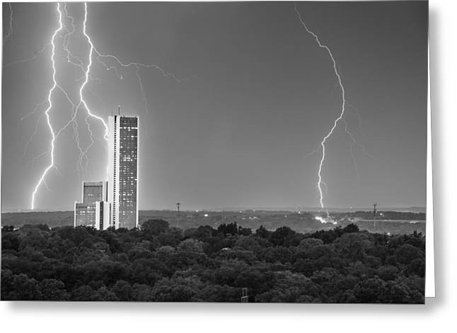 Tulsa Greeting Cards - High Voltage Towers - Tulsa Oklahoma Greeting Card by Gregory Ballos