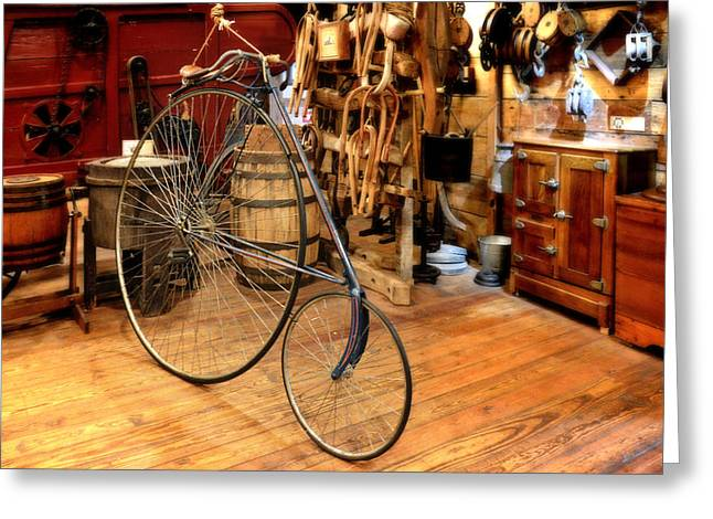 Spokes Greeting Cards - High Wheel Penny-farthing Bike Greeting Card by Christine Till