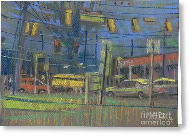 Traffic Drawings Greeting Cards - High Wind Greeting Card by Donald Maier