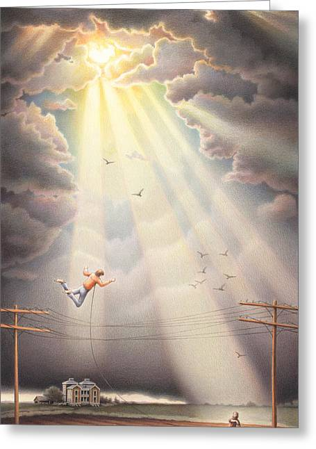 Storm Clouds Drawings Greeting Cards - High Wire - Dream Series No. 4 Greeting Card by Amy S Turner