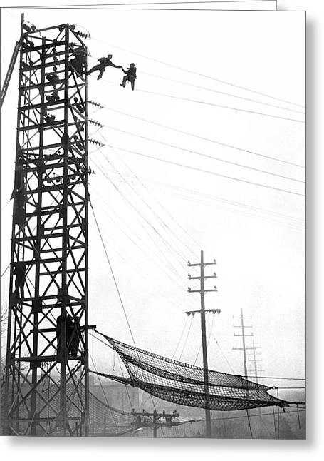 High Wire Suicide Rescue Greeting Card by Underwood Archives