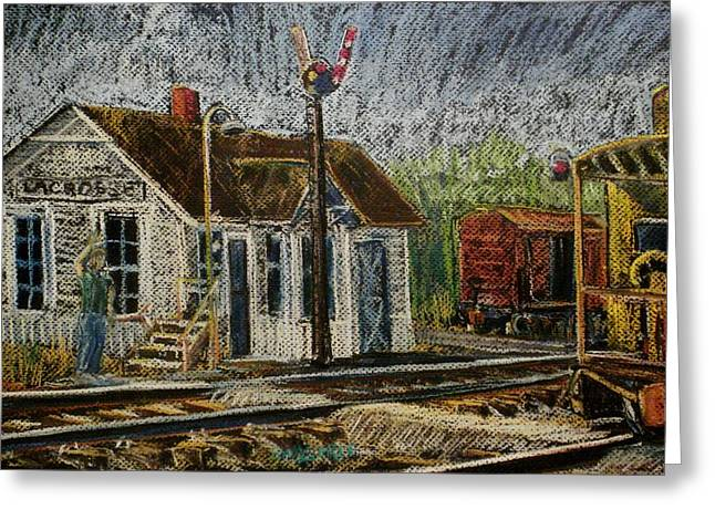 Caboose Pastels Greeting Cards - Highball 93 Greeting Card by Tim  Swagerle