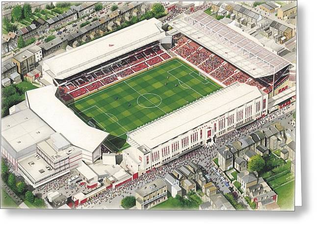 Art Mobile Greeting Cards - Highbury - Arsenal Greeting Card by Kevin Fletcher