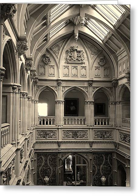 Highclere Hall In Black And White Greeting Card by Nicole Parks