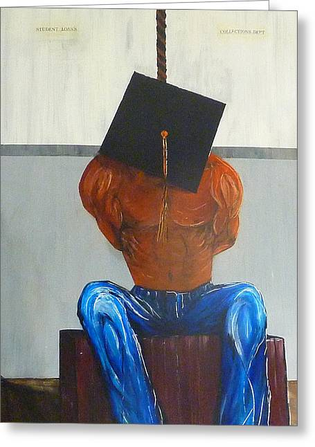 Debt Paintings Greeting Cards - Higher Education Greeting Card by Douglas Keen