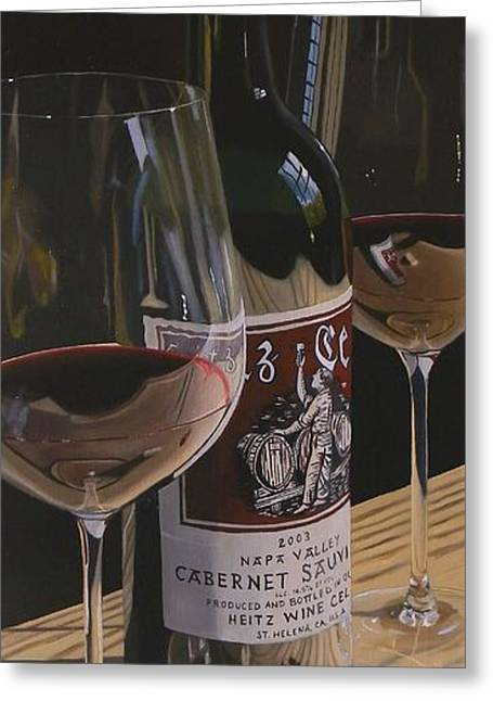 Red Wine Greeting Cards - Higher Heitz Greeting Card by Brien Cole