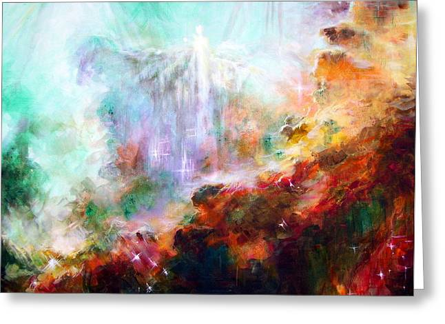 Nebula Paintings Greeting Cards - Higher Self Greeting Card by Heather Calderon