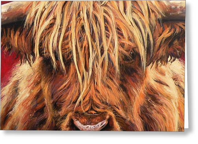 Highland Cow Greeting Cards - Highland Cow Greeting Card by Leigh Banks