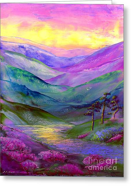 Meadow Scene Greeting Cards - Highland Light Greeting Card by Jane Small