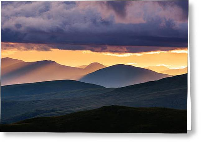 Shafts Greeting Cards - Highland peaks from Meall nan Tarmachan - Scotland Greeting Card by Rod McLean