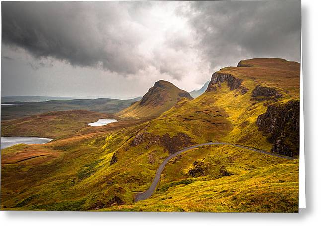 Fine Greeting Cards - Highland Road Greeting Card by Yuri Fineart