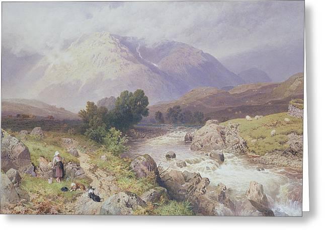 Argyll Greeting Cards - Highland Scene Near Dalmally Argyll Greeting Card by Myles Birket Foster