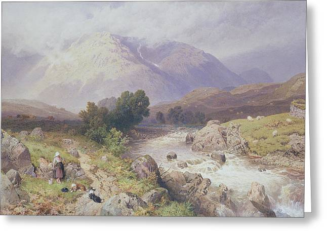 Highland Scene Near Dalmally Argyll Greeting Card by Myles Birket Foster