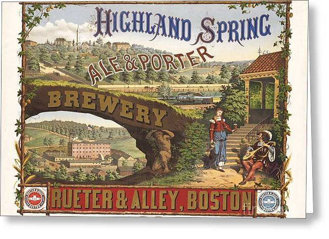 Saloons Drawings Greeting Cards - Highland Spring Brewery Greeting Card by Pg Reproductions