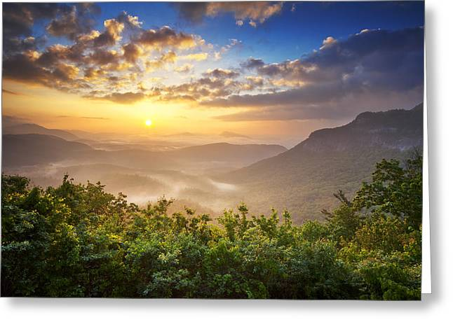 Smoky Greeting Cards - Highlands Sunrise - Whitesides Mountain in Highlands NC Greeting Card by Dave Allen