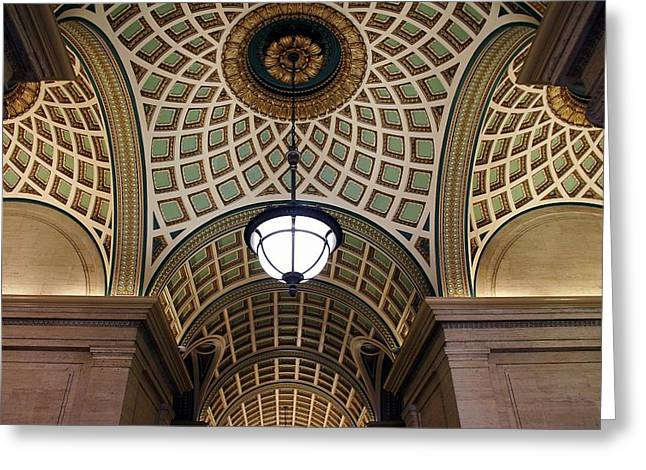 Coffered Barrel Vault Greeting Cards - Highly Decorative Ceiling Greeting Card by Frank Luxford