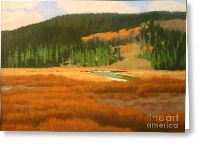 River Scenes Pastels Greeting Cards - Highmeadow In Autumn Greeting Card by Doyle Shaw