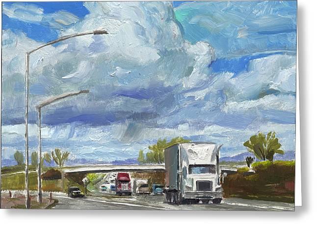 John Stewart Greeting Cards - Highway 5 Trucks Greeting Card by John Norman Stewart