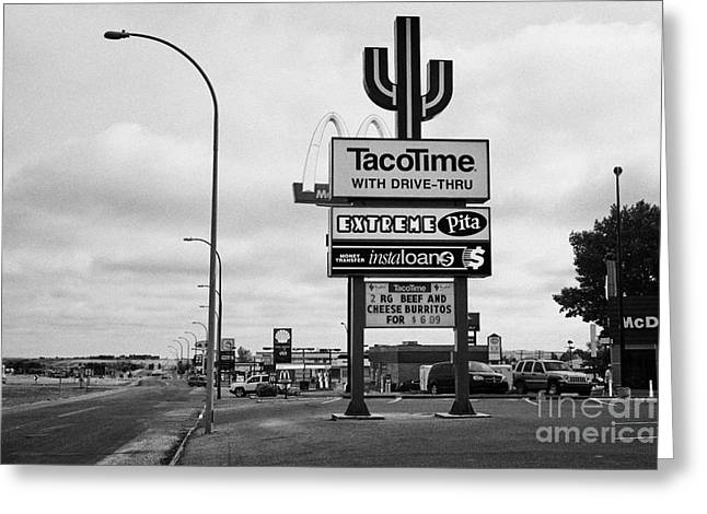 Local Food Photographs Greeting Cards - highway access road restaurant and hotel adverts signs swift current Saskatchewan Canada Greeting Card by Joe Fox