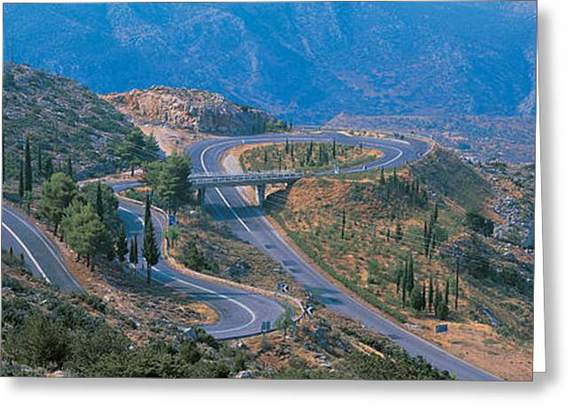 Incline Greeting Cards - Highway Delphi Greece Greeting Card by Panoramic Images
