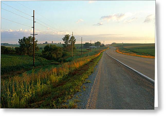 Farm Photography Greeting Cards - Highway Eastern Ia Greeting Card by Panoramic Images