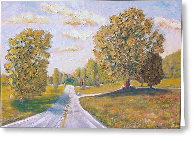 Roadway Paintings Greeting Cards - Highway Home Greeting Card by Michael Brown