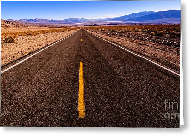 Road Travel Greeting Cards - Highway Hypnosis Greeting Card by Charles Dobbs