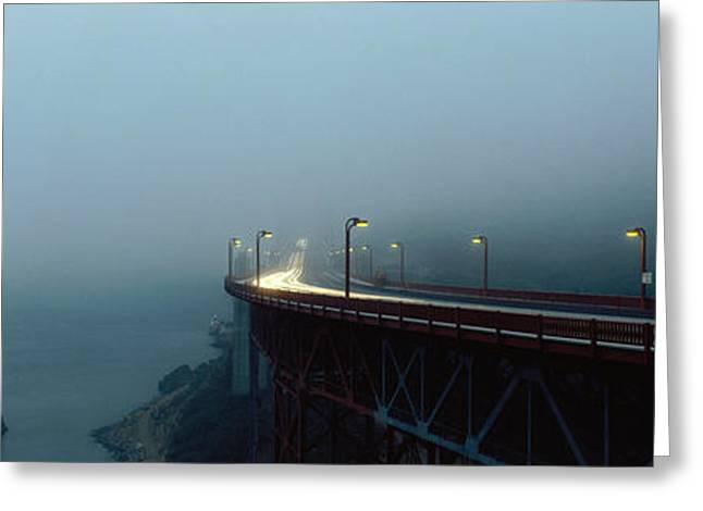 Night Lamp Greeting Cards - Highway In Fog, San Francisco Greeting Card by Panoramic Images
