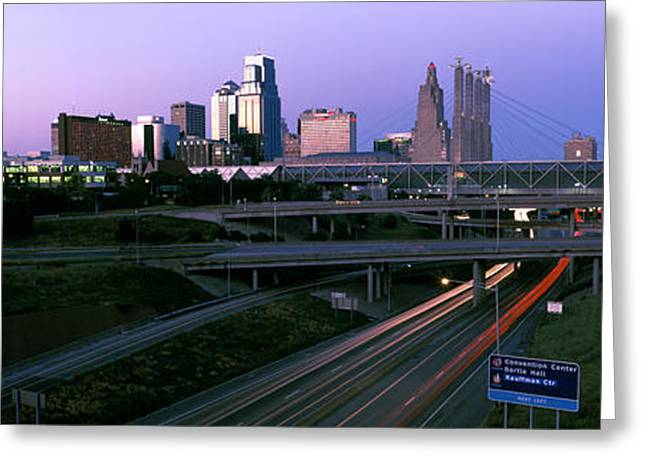 Kansas City Greeting Cards - Highway Interchange And Skyline Greeting Card by Panoramic Images