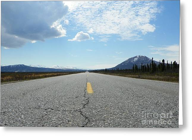 Mountain Road Drawings Greeting Cards - Highway Greeting Card by Jennifer Kimberly