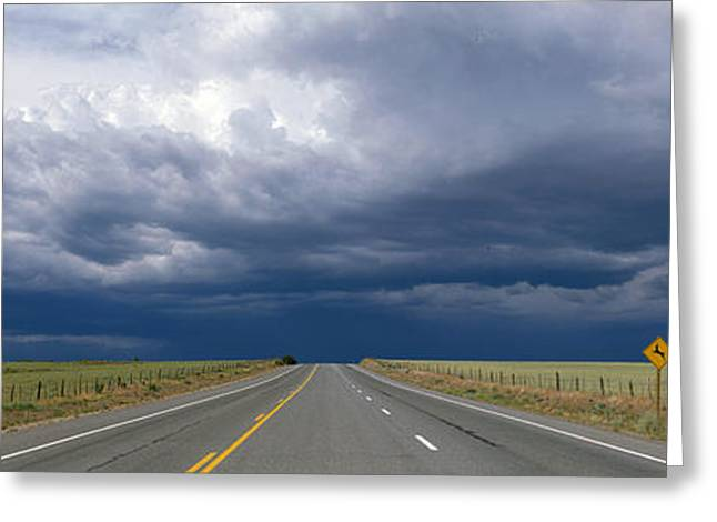 Roadway Photographs Greeting Cards - Highway Near Blanding, Utah, Usa Greeting Card by Panoramic Images