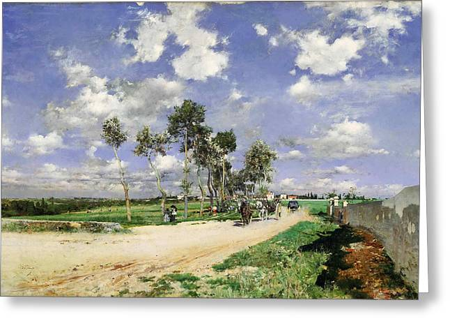 Highway Of Combes-la-ville Greeting Card by Giovanni Boldini