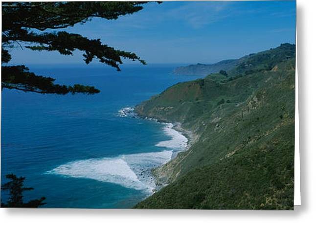 Big Sur Greeting Cards - Highway On A Hillside, Route 1, Big Greeting Card by Panoramic Images