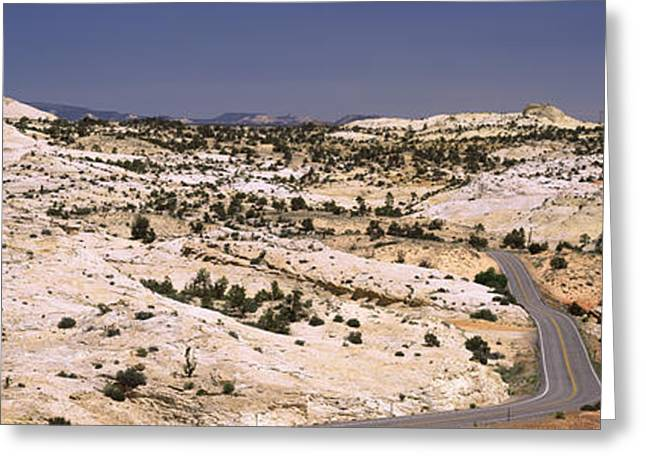 Escalante National Monument Greeting Cards - Highway Passing Through An Arid Greeting Card by Panoramic Images