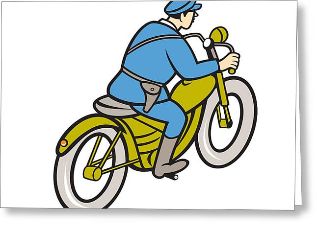 Police Patrol Law Enforcement Greeting Cards - Highway Patrol Policeman Riding Motorbike Cartoon Greeting Card by Aloysius Patrimonio