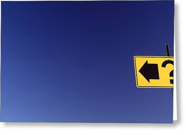 Question Mark Greeting Cards - Highway Sign Greeting Card by Panoramic Images