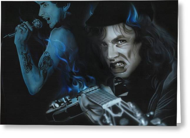 Angus Young Greeting Cards - Highway to Bon Greeting Card by Christian Chapman Art