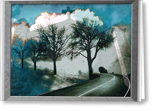 Steeple Mixed Media Greeting Cards - Highway to Heaven Greeting Card by Maggie Vlazny