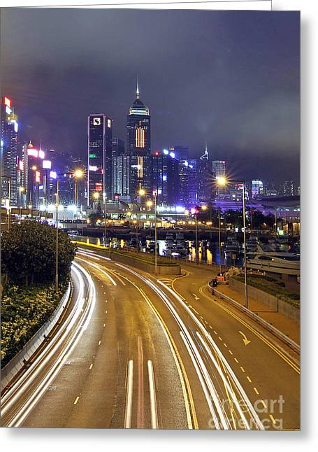 Hongkong Greeting Cards - Highway to Hong Kong Greeting Card by Lars Ruecker
