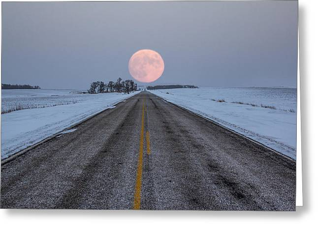 December Greeting Cards - Highway to the Moon Greeting Card by Aaron J Groen