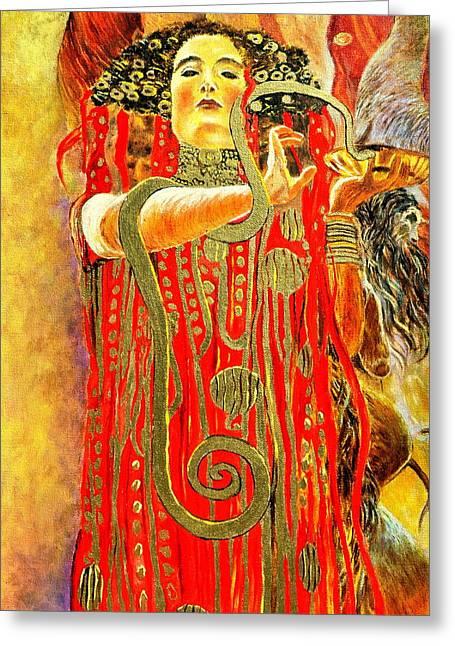 Gold Necklace Greeting Cards - Higieja-according to Gustaw Klimt Greeting Card by Henryk Gorecki