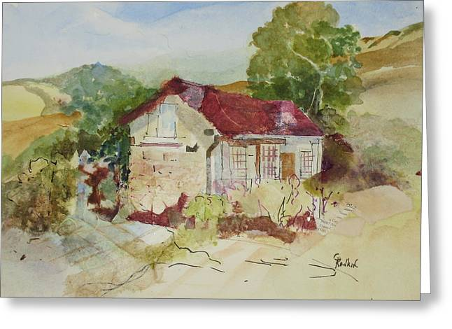 Adobe Mixed Media Greeting Cards - Higuera Adobe Greeting Card by Grace Rankin