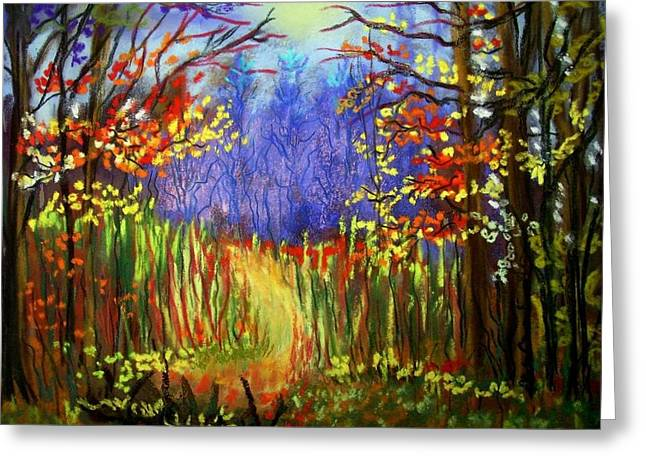 Hiking Pastels Greeting Cards - Hike along the Trail Greeting Card by Ruth  Sears