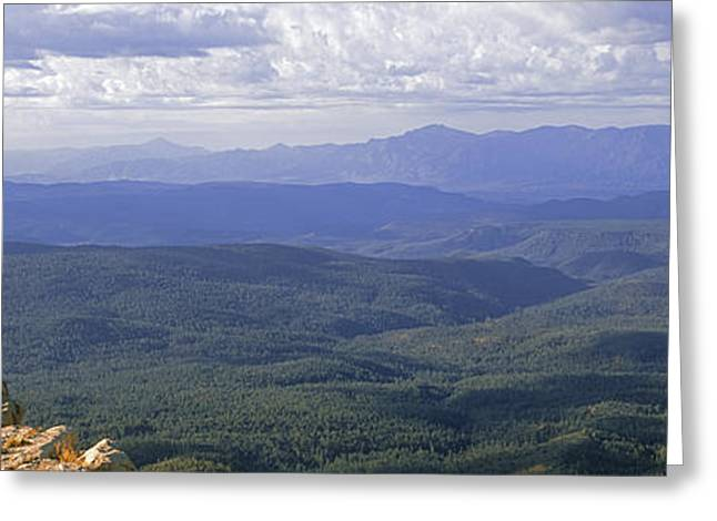Hiker Standing On Top Of Rock, Mogollon Greeting Card by Panoramic Images