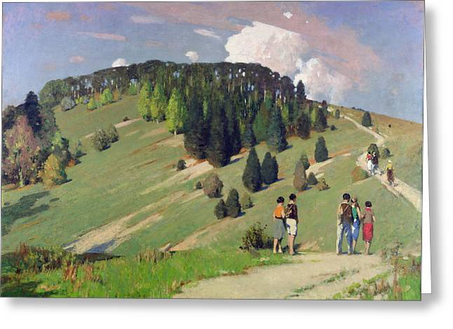 Hikers At Goodwood Downs Greeting Card by George F. Henry