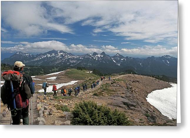 Hikers In Mt. Rainier National Park Greeting Card by Jim West