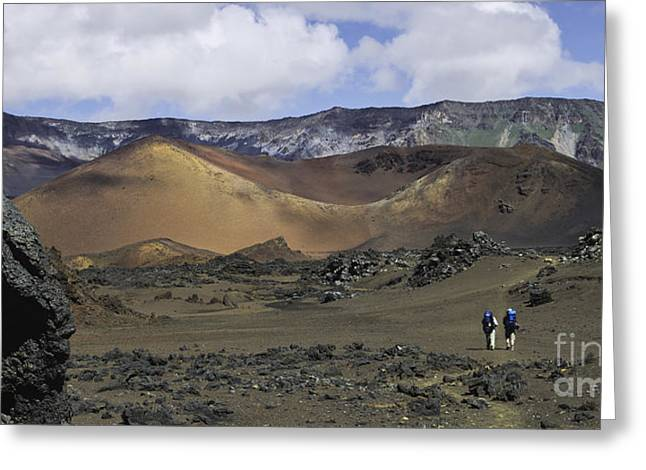 Photogaph Greeting Cards - Hikers in the Haleakala Crater Greeting Card by Frank Wicker