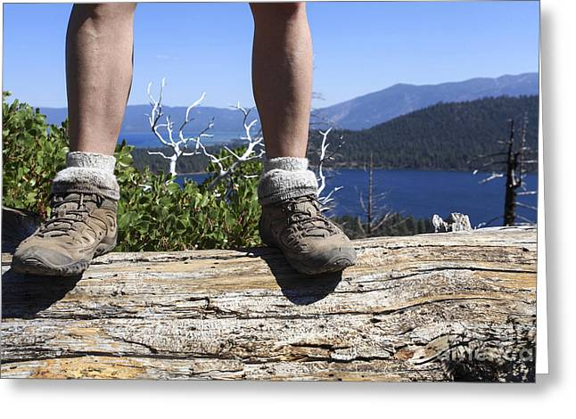 Walking The Beat Greeting Cards - Hikers legs and boots  Greeting Card by Gal Eitan