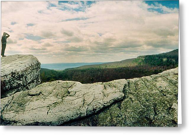 Three People Photographs Greeting Cards - Hikers On Flat Boulders At Gertrudes Greeting Card by Panoramic Images